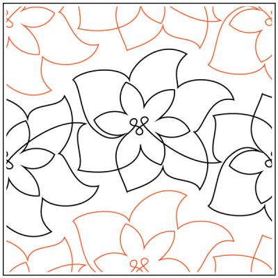 Christmas Poinsettia quilting pantograph sewing pattern by Lorien Quilting