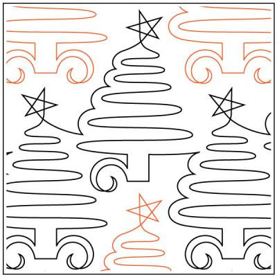 Lorien's Christmas Trees quilting pantograph sewing pattern by Lorien Quilting