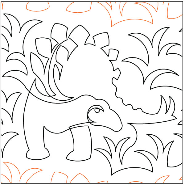 Stegosaur quilting pantograph pattern by Lorien Quilting : lorien quilting - Adamdwight.com