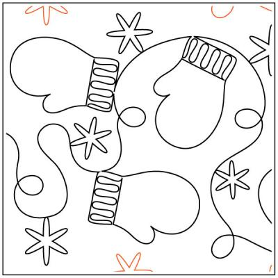 Mittens N Snowflakes quilting pantograph sewing pattern from Maureen Foster