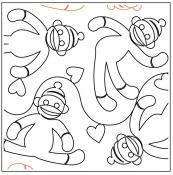 Sock Monkey quilting pantograph sewing pattern from Maureen Foster