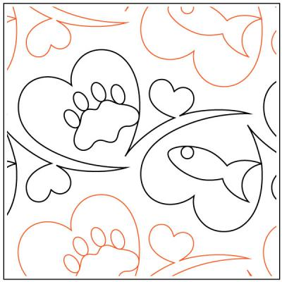 CLOSEOUT...Meowz Cat Treats quilting pantograph sewing pattern by Melonie J. Caldwell