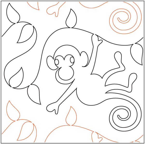 Monkey Jungle Pantograph Pattern By Patricia Ritter And