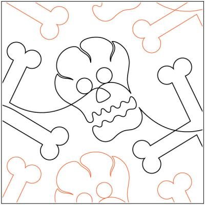 Bones quilting pantograph sewing pattern by Melonie J. Caldwell