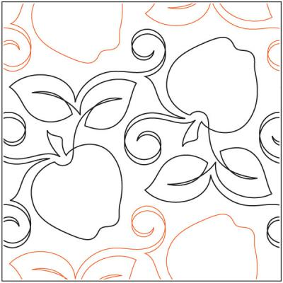 Crisp Apples quilting pantograph sewing pattern by Natalie Gorman
