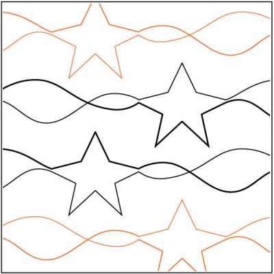 Stars and Stripes quilting pantograph pattern by R&S Designs
