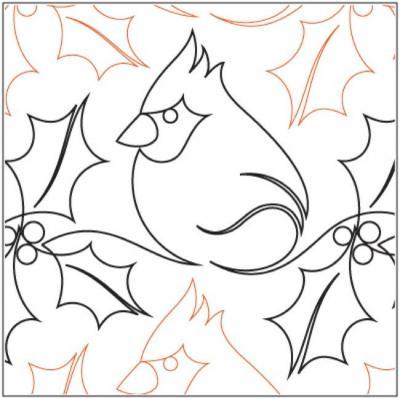 Christmas Cardinal quilting pantograph pattern by Sarah Ann Myers
