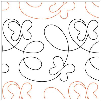Take Flight Butterfly quilting pantograph pattern by Patricia Ritter of Urban Elementz