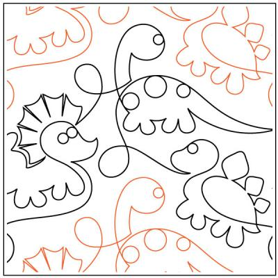 INVENTORY REDUCTION...Jurassic Babies quilting pantograph pattern by Patricia Ritter of Urban Elementz
