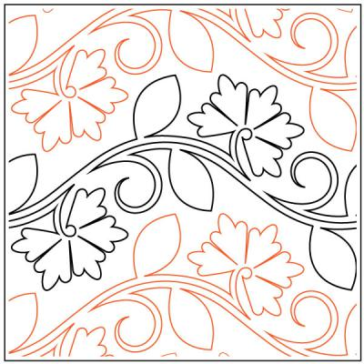 Carnations quilting pantograph pattern by Patricia Ritter and Denise Schillinger