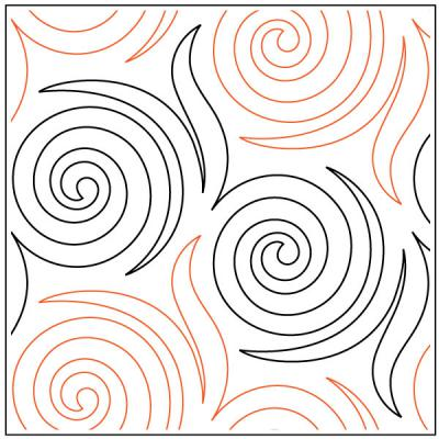 Denise's Spinners quilting pantograph pattern by Patricia Ritter and Denise Schillinger