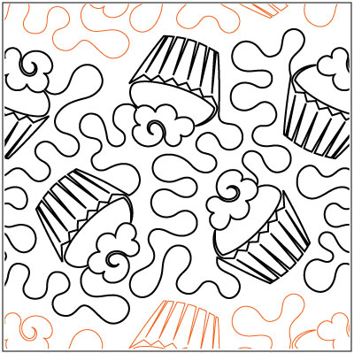 Cupcake Party 1 Quilting Pantograph Pattern By Jessica Shick