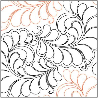 Curly Feathers quilting pantograph pattern by Jessica Shick