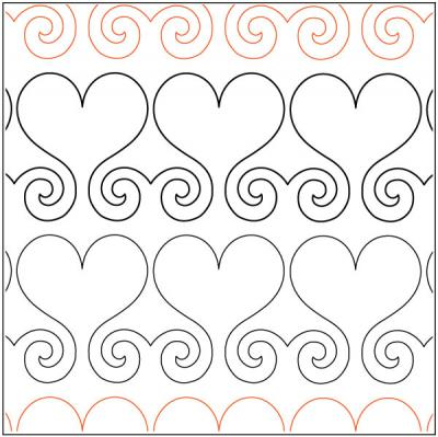 Hearts Abound Border quilting pantograph sewing pattern by Lisa Calle