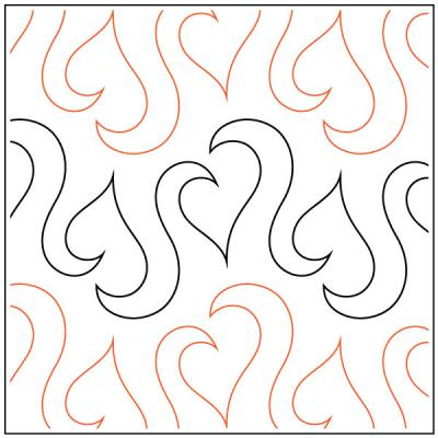 Leafy Love quilting pantograph sewing pattern by Lorien Quilting