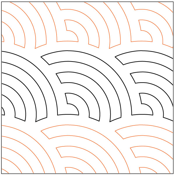 Continuous Baptist Fans Quilting Pantograph Pattern By
