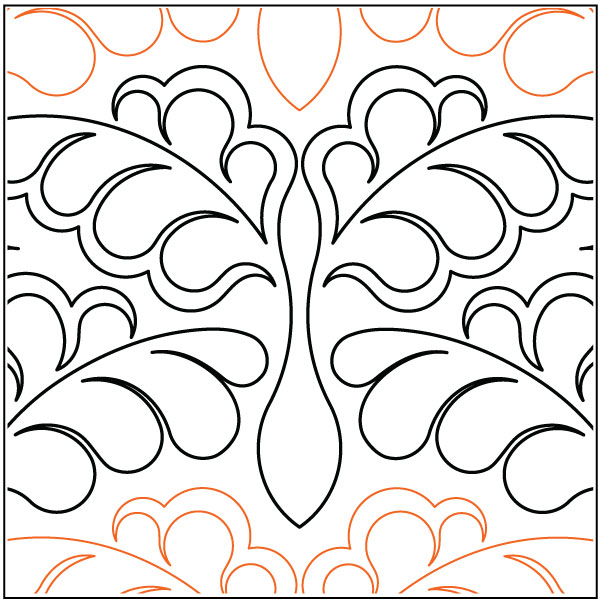 Damask-Feathers-quilting-pantograph-pattern-Lorien-Quilting