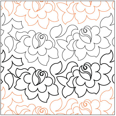 Tea Rose Quilting Pantograph Pattern By Lorien Quilting
