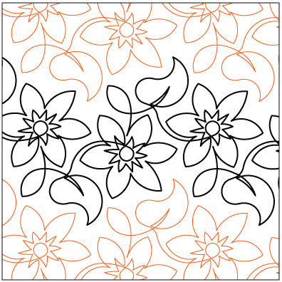 Wall Flower Quilting Pantograph Pattern