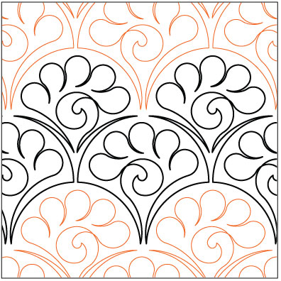 Tailfeathers quilting pantograph pattern by Lorien Quilting